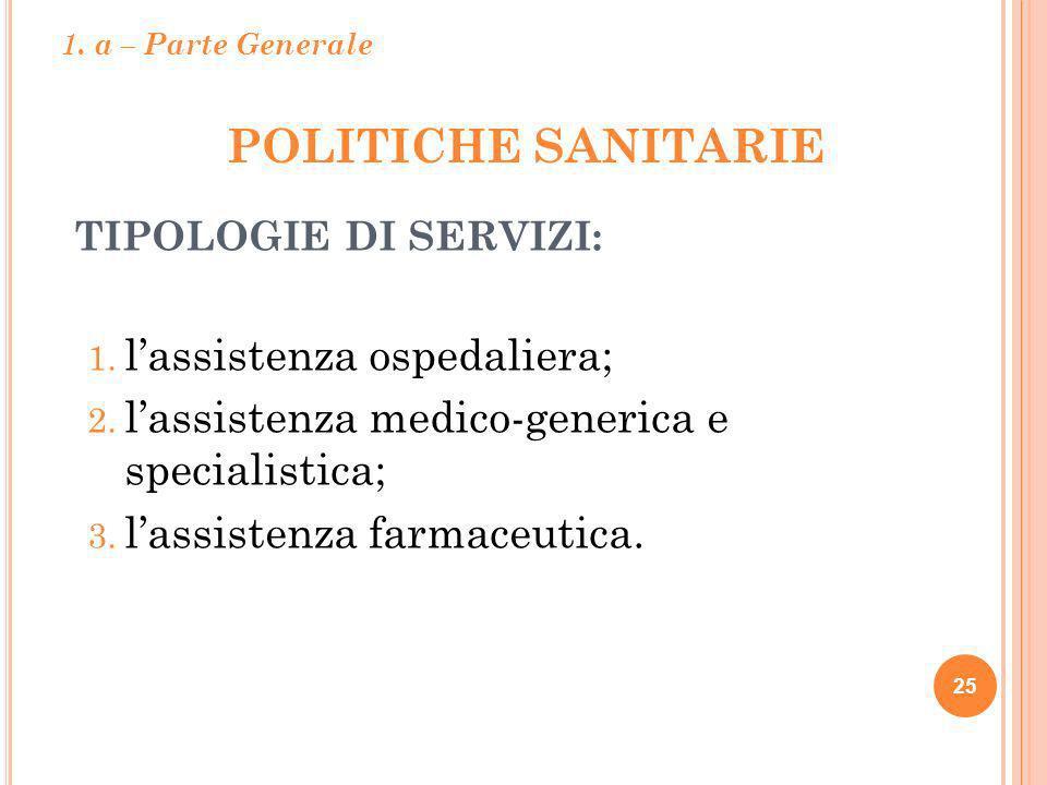 POLITICHE SANITARIE 25 TIPOLOGIE DI SERVIZI: 1. lassistenza ospedaliera; 2. lassistenza medico-generica e specialistica; 3. lassistenza farmaceutica.