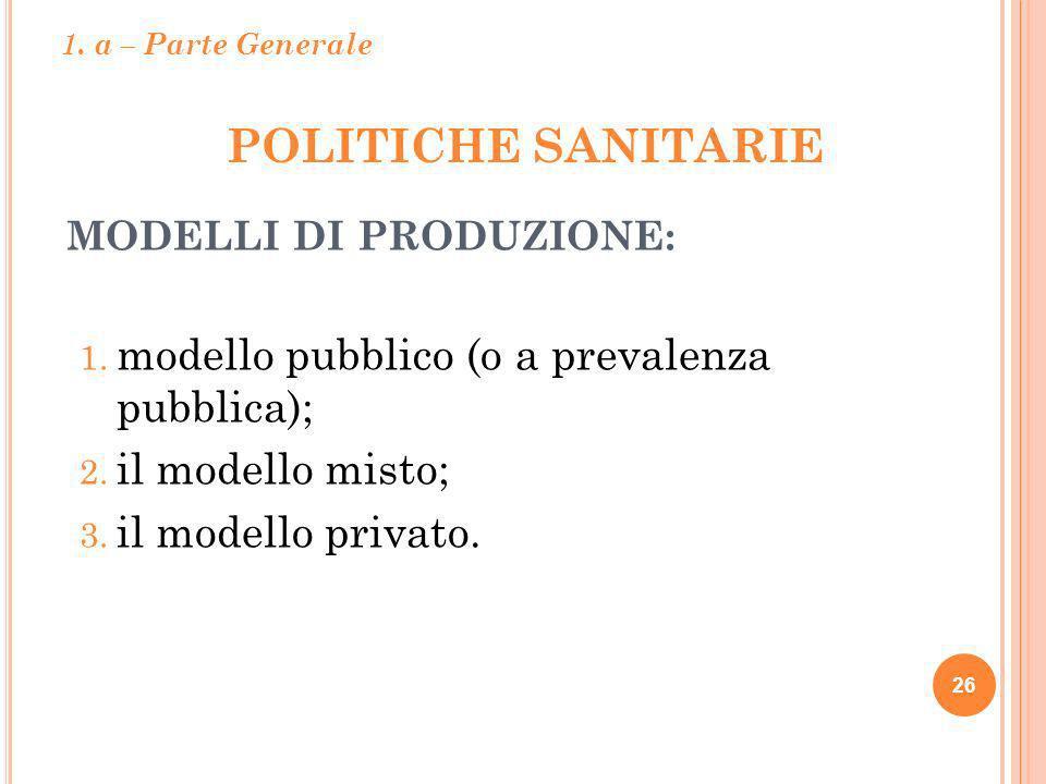 POLITICHE SANITARIE 26 MODELLI DI PRODUZIONE: 1. modello pubblico (o a prevalenza pubblica); 2. il modello misto; 3. il modello privato. 1. a – Parte