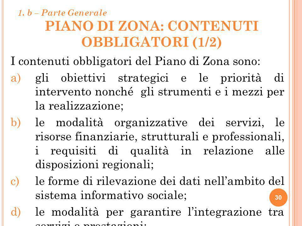 PIANO DI ZONA: CONTENUTI OBBLIGATORI (1/2) 30 I contenuti obbligatori del Piano di Zona sono: a)gli obiettivi strategici e le priorità di intervento n