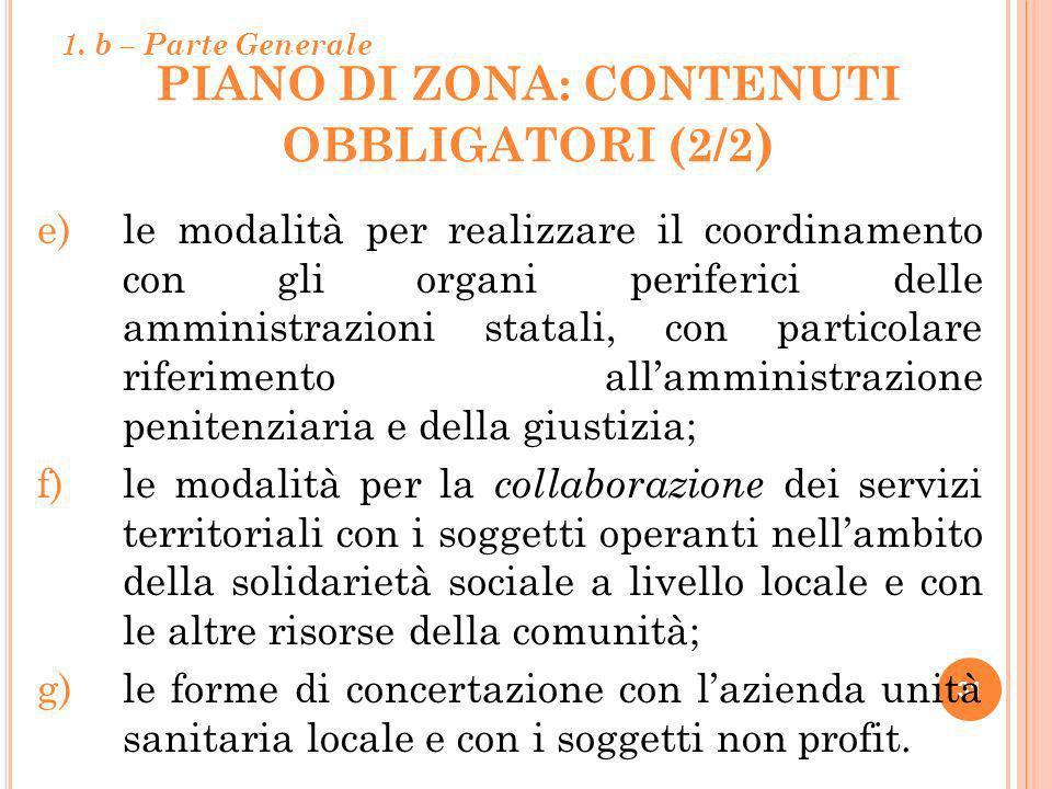PIANO DI ZONA: CONTENUTI OBBLIGATORI (2/2 ) 31 e)le modalità per realizzare il coordinamento con gli organi periferici delle amministrazioni statali,