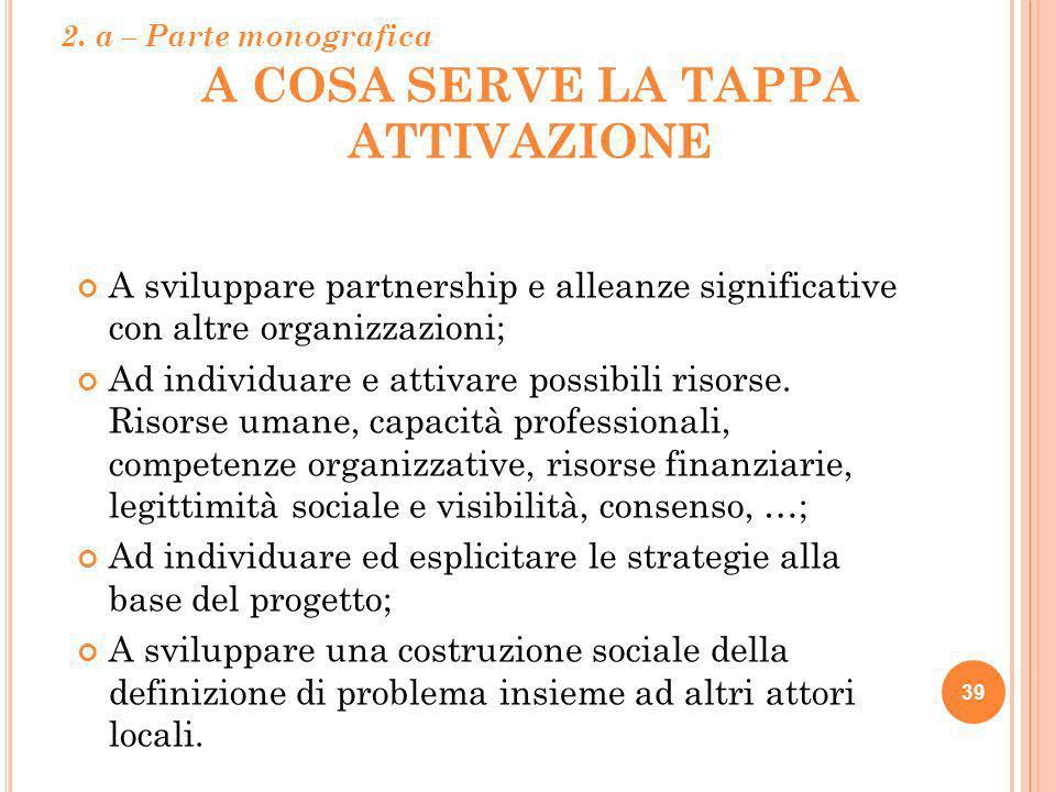 A COSA SERVE LA TAPPA ATTIVAZIONE 39 A sviluppare partnership e alleanze significative con altre organizzazioni; Ad individuare e attivare possibili r