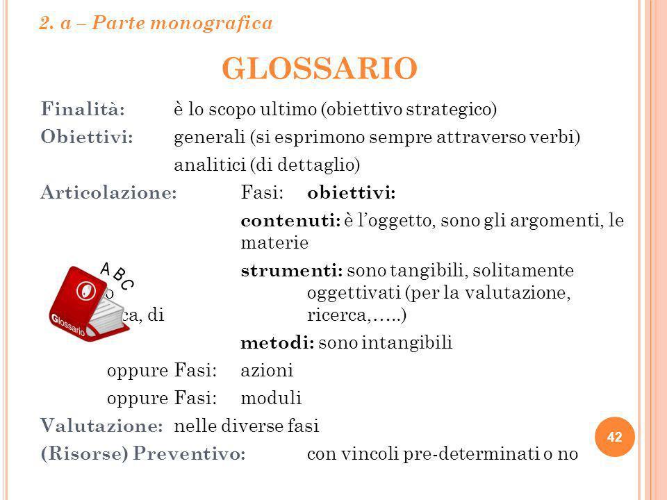 GLOSSARIO Finalità: è lo scopo ultimo (obiettivo strategico) Obiettivi: generali (si esprimono sempre attraverso verbi) analitici (di dettaglio) Artic