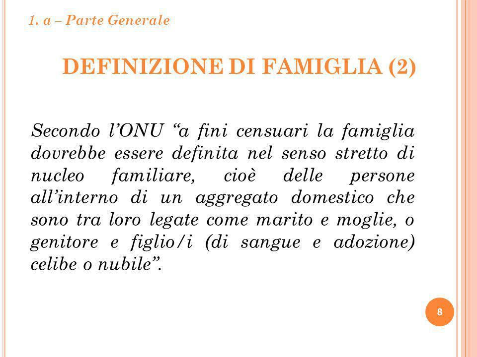 DEFINIZIONE DI FAMIGLIA (2) 8 Secondo lONU a fini censuari la famiglia dovrebbe essere definita nel senso stretto di nucleo familiare, cioè delle pers