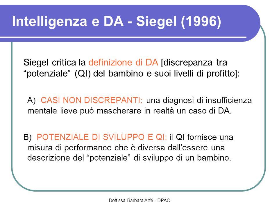 Intelligenza e DA - Siegel (1996) Siegel critica la definizione di DA [discrepanza tra potenziale (QI) del bambino e suoi livelli di profitto]: A) CAS