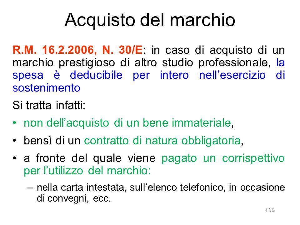 100 Acquisto del marchio R.M. 16.2.2006, N.