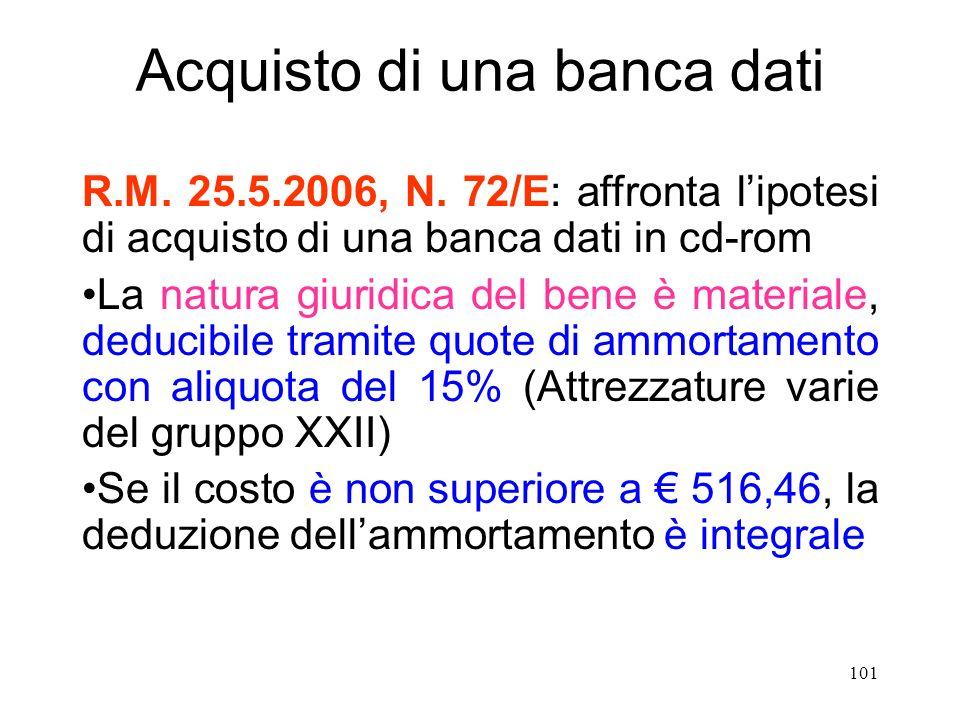 101 Acquisto di una banca dati R.M. 25.5.2006, N.