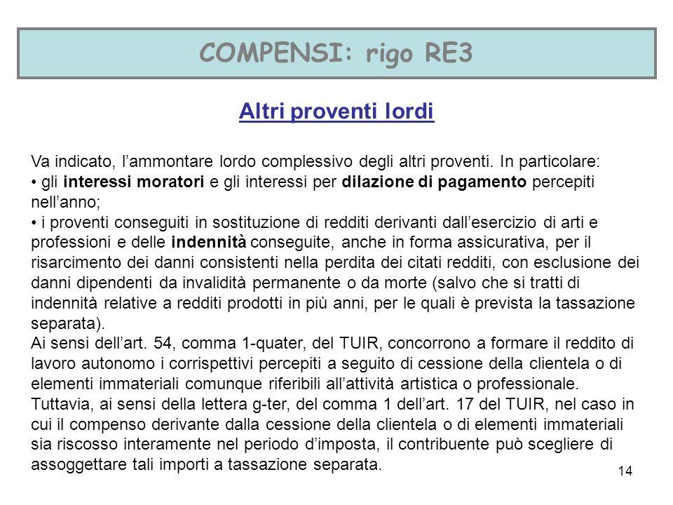 14 COMPENSI: rigo RE3 Altri proventi lordi Va indicato, lammontare lordo complessivo degli altri proventi.