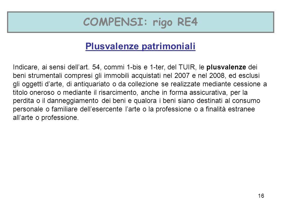 16 COMPENSI: rigo RE4 Plusvalenze patrimoniali Indicare, ai sensi dellart.