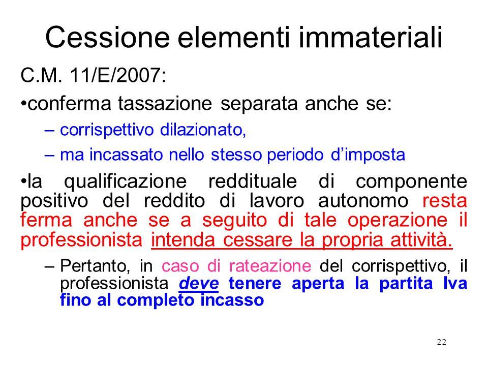 Cessione elementi immateriali C.M.