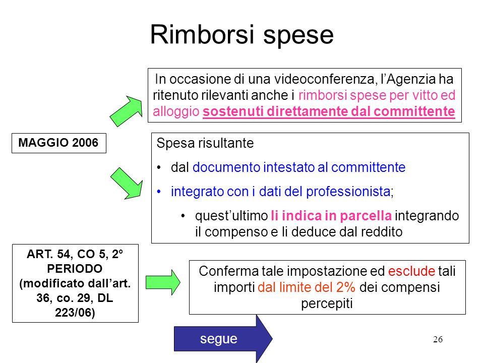 26 Rimborsi spese MAGGIO 2006 In occasione di una videoconferenza, lAgenzia ha ritenuto rilevanti anche i rimborsi spese per vitto ed alloggio sostenuti direttamente dal committente ART.