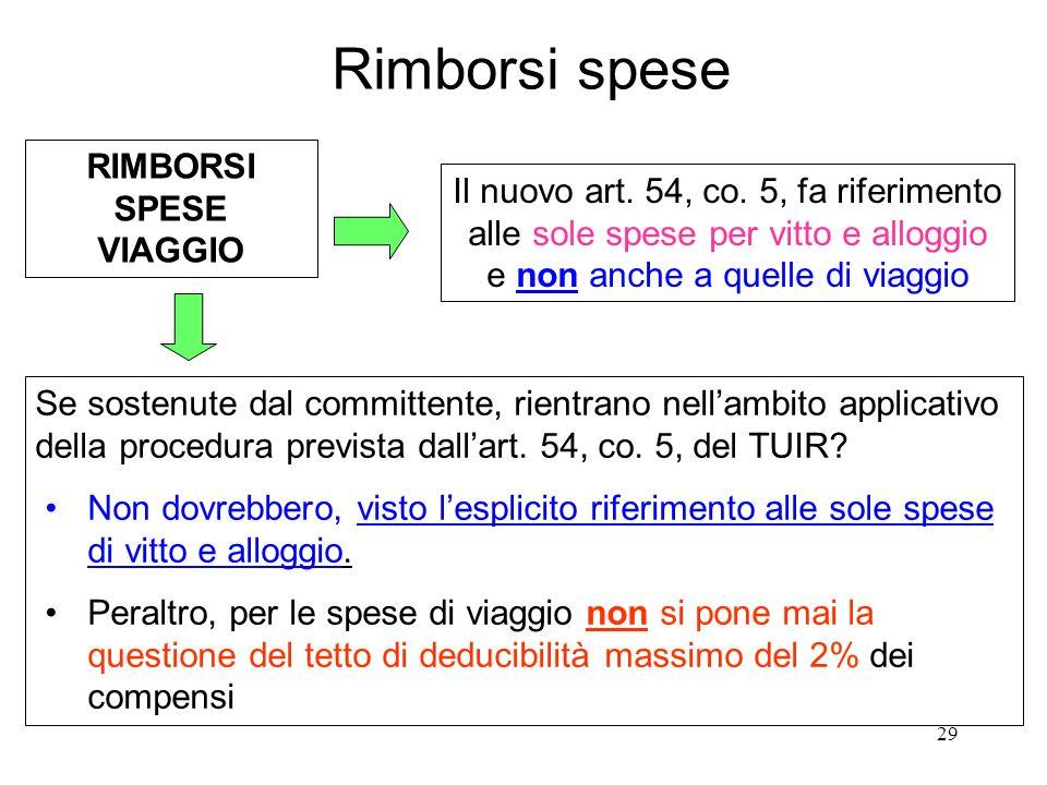 29 Rimborsi spese RIMBORSI SPESE VIAGGIO Il nuovo art.