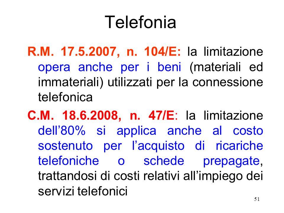 51 Telefonia R.M. 17.5.2007, n.