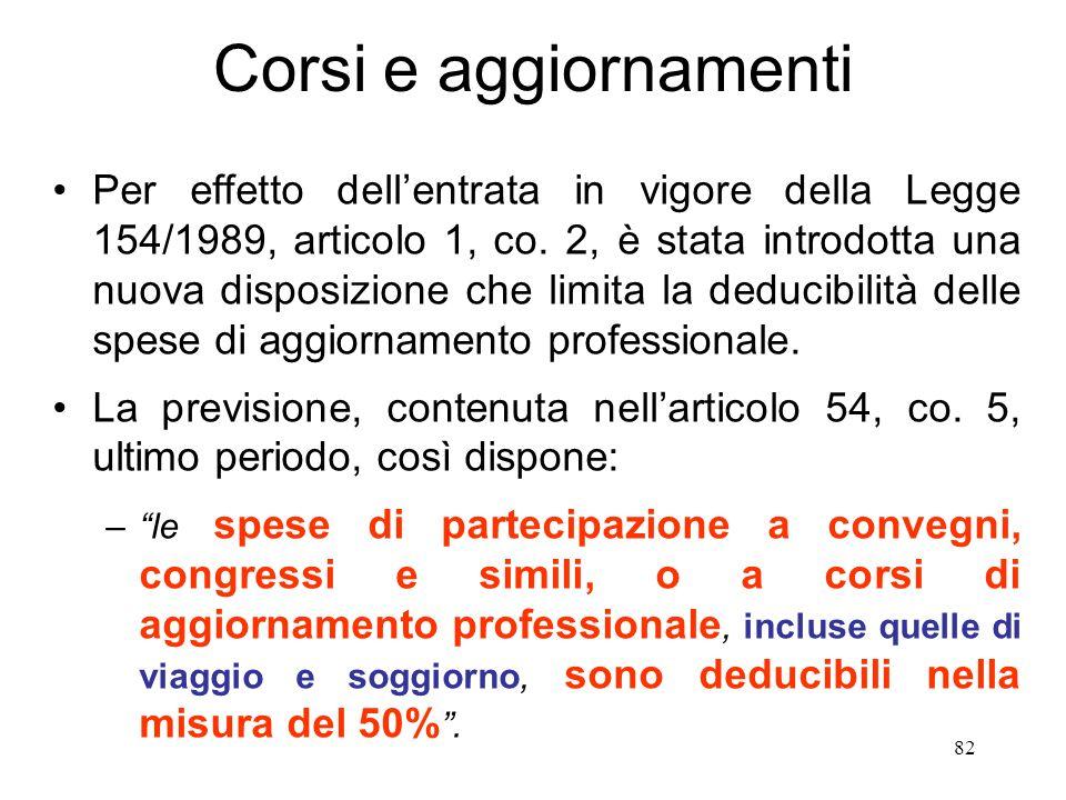 82 Corsi e aggiornamenti Per effetto dellentrata in vigore della Legge 154/1989, articolo 1, co.