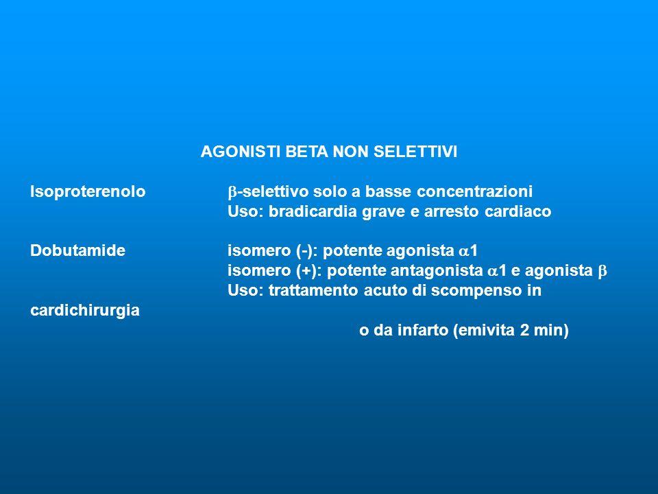AGONISTI BETA NON SELETTIVI Isoproterenolo -selettivo solo a basse concentrazioni Uso: bradicardia grave e arresto cardiaco Dobutamideisomero (-): pot