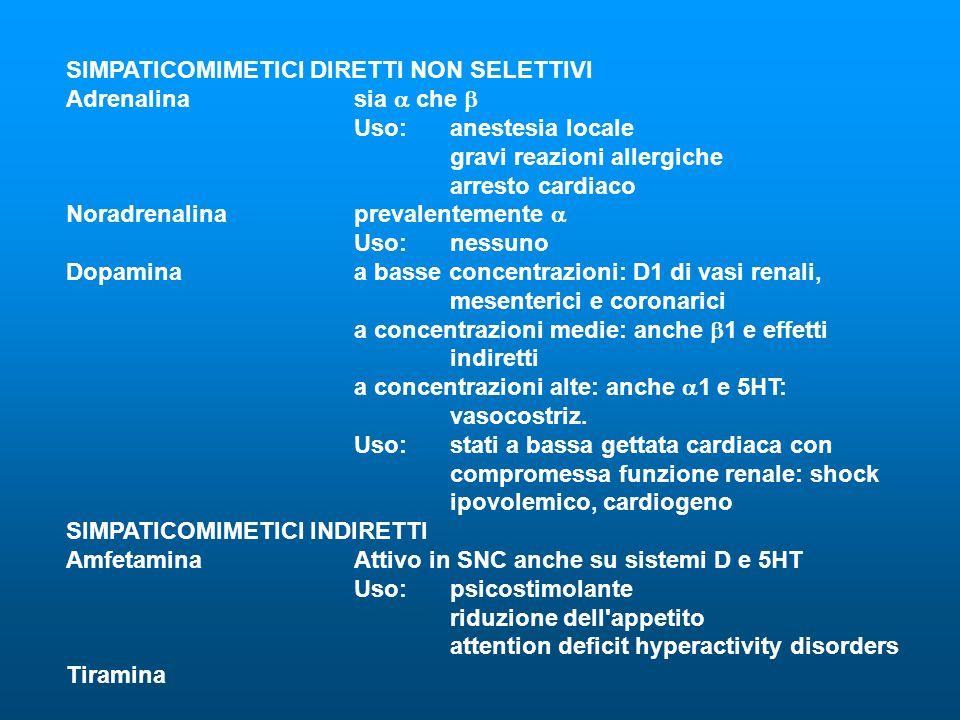 SIMPATICOMIMETICI DIRETTI NON SELETTIVI Adrenalinasia che Uso:anestesia locale gravi reazioni allergiche arresto cardiaco Noradrenalinaprevalentemente