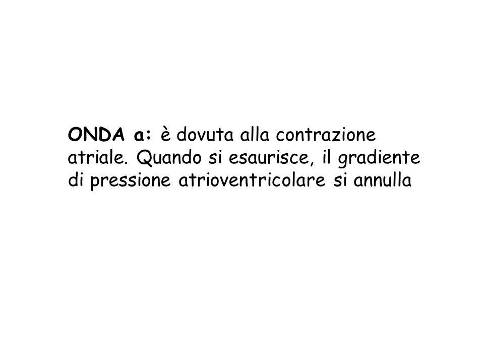 ONDA a: è dovuta alla contrazione atriale. Quando si esaurisce, il gradiente di pressione atrioventricolare si annulla