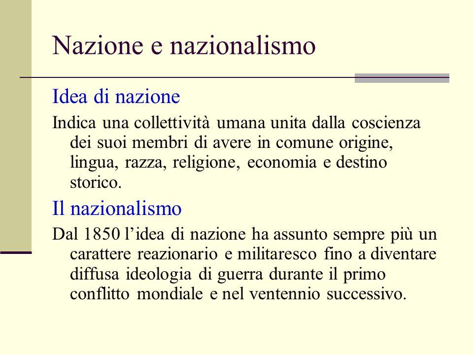 Nazione e nazionalismo Idea di nazione Indica una collettività umana unita dalla coscienza dei suoi membri di avere in comune origine, lingua, razza, religione, economia e destino storico.