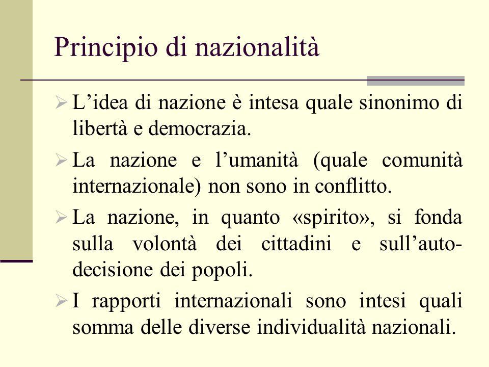 Principio di nazionalità Lidea di nazione è intesa quale sinonimo di libertà e democrazia.