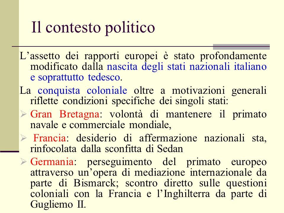 Il contesto politico Lassetto dei rapporti europei è stato profondamente modificato dalla nascita degli stati nazionali italiano e soprattutto tedesco.