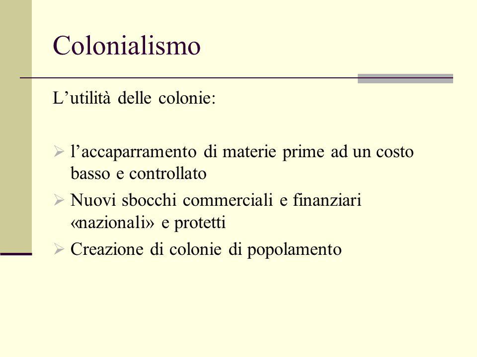 Colonialismo Lutilità delle colonie: laccaparramento di materie prime ad un costo basso e controllato Nuovi sbocchi commerciali e finanziari «nazionali» e protetti Creazione di colonie di popolamento