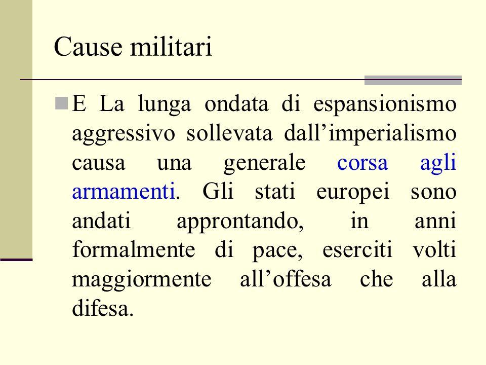 Cause militari E La lunga ondata di espansionismo aggressivo sollevata dallimperialismo causa una generale corsa agli armamenti.