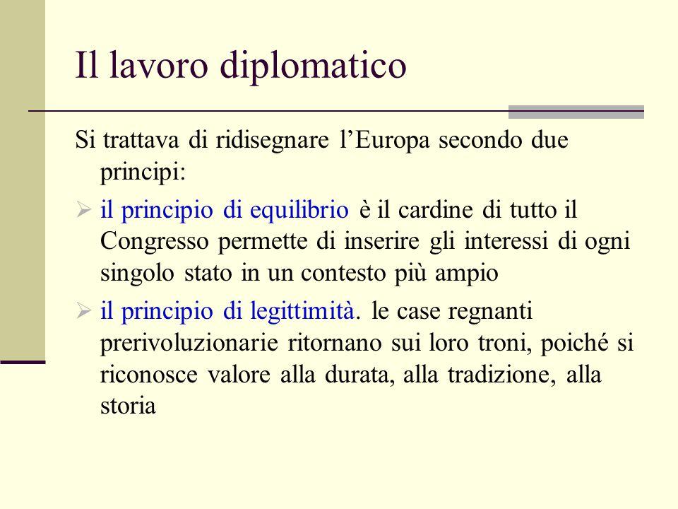 Il lavoro diplomatico Si trattava di ridisegnare lEuropa secondo due principi: il principio di equilibrio è il cardine di tutto il Congresso permette di inserire gli interessi di ogni singolo stato in un contesto più ampio il principio di legittimità.