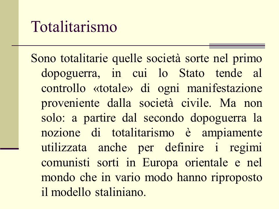 Totalitarismo Sono totalitarie quelle società sorte nel primo dopoguerra, in cui lo Stato tende al controllo «totale» di ogni manifestazione proveniente dalla società civile.