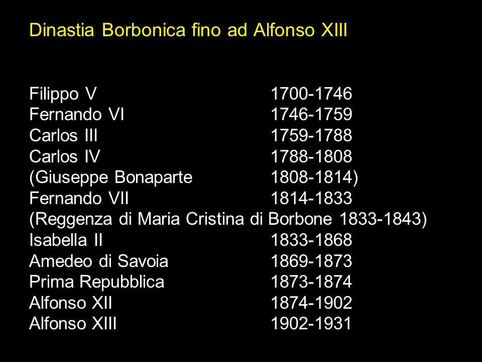 Dinastia Borbonica fino ad Alfonso XIII Filippo V 1700-1746 Fernando VI 1746-1759 Carlos III 1759-1788 Carlos IV1788-1808 (Giuseppe Bonaparte1808-1814