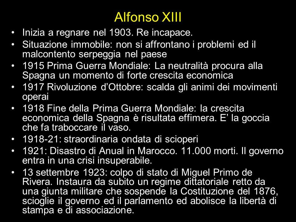 Alfonso XIII Inizia a regnare nel 1903. Re incapace. Situazione immobile: non si affrontano i problemi ed il malcontento serpeggia nel paese 1915 Prim