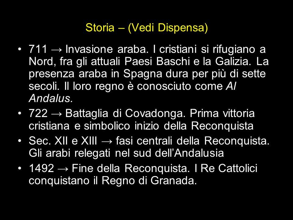 Storia – (Vedi Dispensa) 711 Invasione araba. I cristiani si rifugiano a Nord, fra gli attuali Paesi Baschi e la Galizia. La presenza araba in Spagna