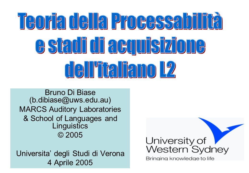 Ringraziamenti Una prima versione di questa presentazione sulla Teoria della Processabilità (Pienemann 1998) era stata preparata per il corso di aggiornamento CoAsIt per insegnanti di italiano L2, Sydney 17-19 settembre 2004.