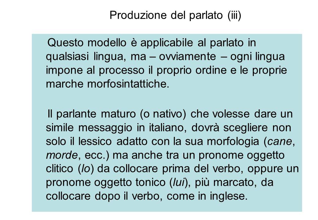 Produzione del parlato (iii) Questo modello è applicabile al parlato in qualsiasi lingua, ma – ovviamente – ogni lingua impone al processo il proprio