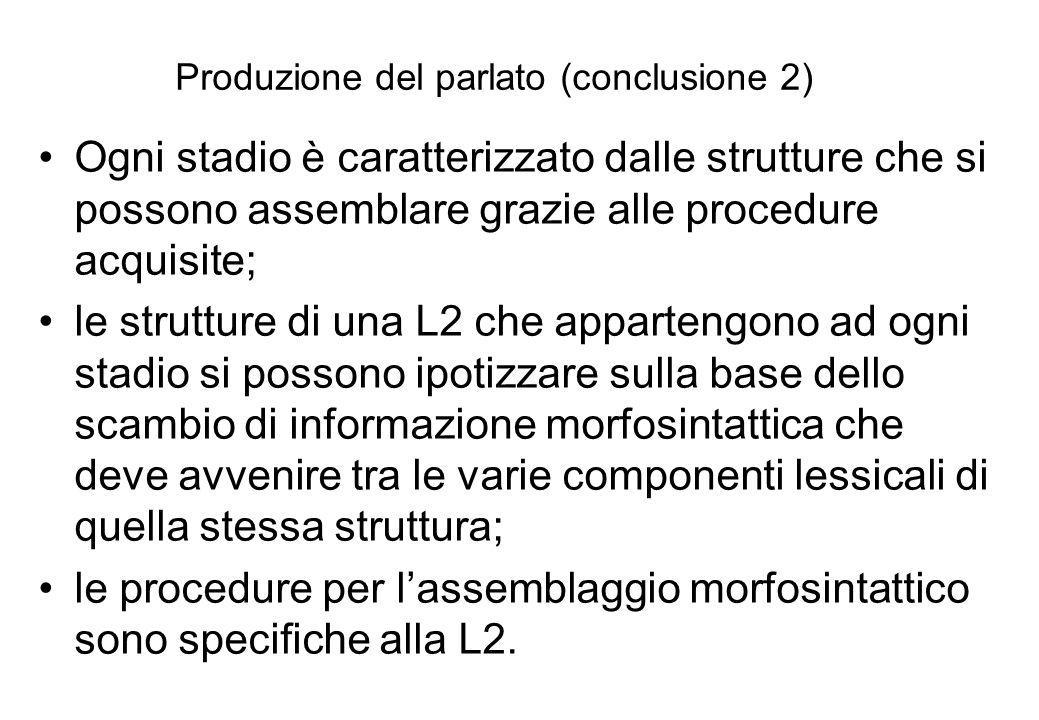 Produzione del parlato (conclusione 2) Ogni stadio è caratterizzato dalle strutture che si possono assemblare grazie alle procedure acquisite; le stru