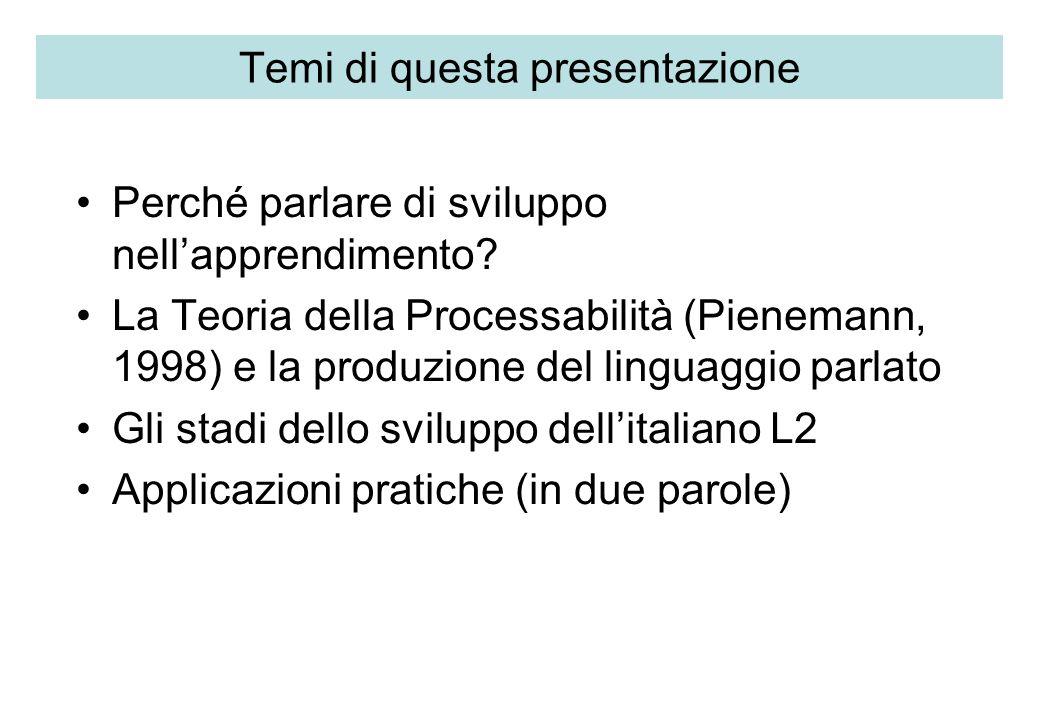 Temi di questa presentazione Perché parlare di sviluppo nellapprendimento? La Teoria della Processabilità (Pienemann, 1998) e la produzione del lingua