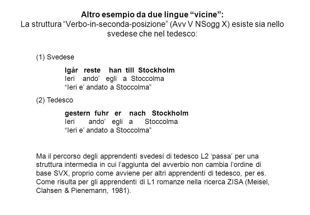 Altro esempio da due lingue vicine: La struttura Verbo-in-seconda-posizione (Avv V NSogg X) esiste sia nello svedese che nel tedesco: (1) Svedese lgår