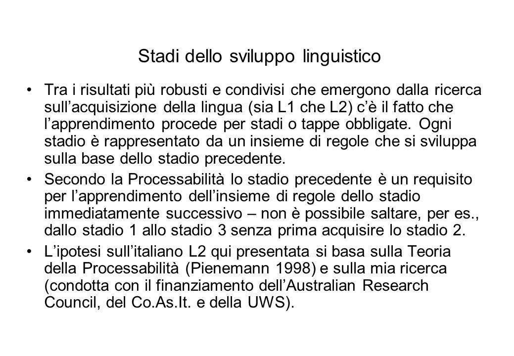 Questa tabella riassume lacquisizione delle strutture proposte nello studio trasversale in Di Biase & Kawaguchi (2002) - nel quadro precendente, seguendo il criterio di acquisizione descritto in Pienemann (1998).