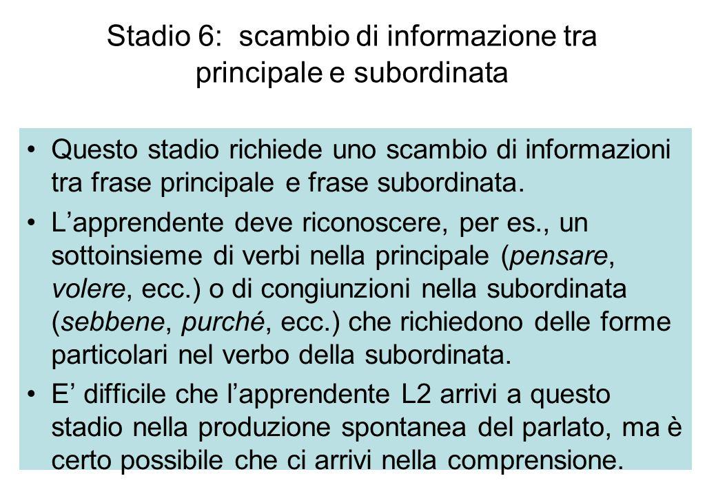 Stadio 6: scambio di informazione tra principale e subordinata Questo stadio richiede uno scambio di informazioni tra frase principale e frase subordi