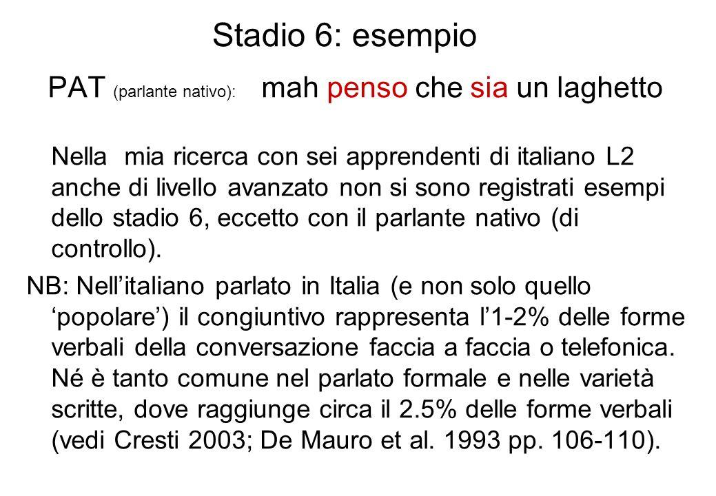 Stadio 6: esempio PAT (parlante nativo): mah penso che sia un laghetto Nella mia ricerca con sei apprendenti di italiano L2 anche di livello avanzato