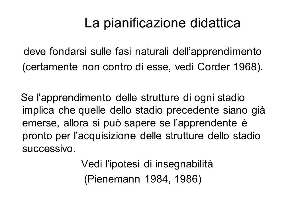 La pianificazione didattica deve fondarsi sulle fasi naturali dellapprendimento (certamente non contro di esse, vedi Corder 1968). Se lapprendimento d