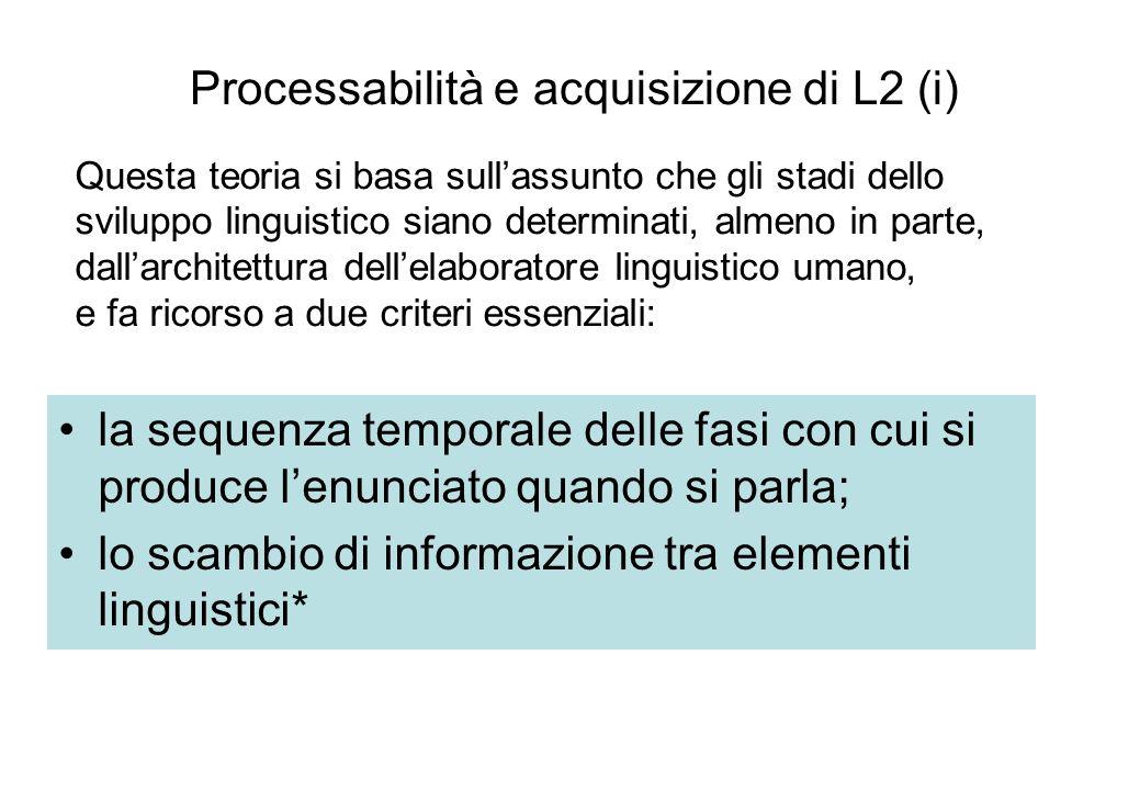 Processabilità e acquisizione di L2 (i) la sequenza temporale delle fasi con cui si produce lenunciato quando si parla; lo scambio di informazione tra