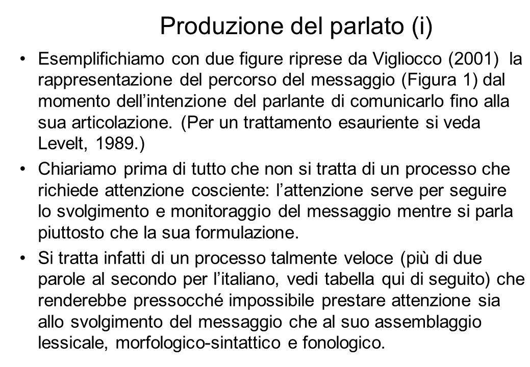 Produzione del parlato in italiano: fluenza media Ricostruzione dalle pp.