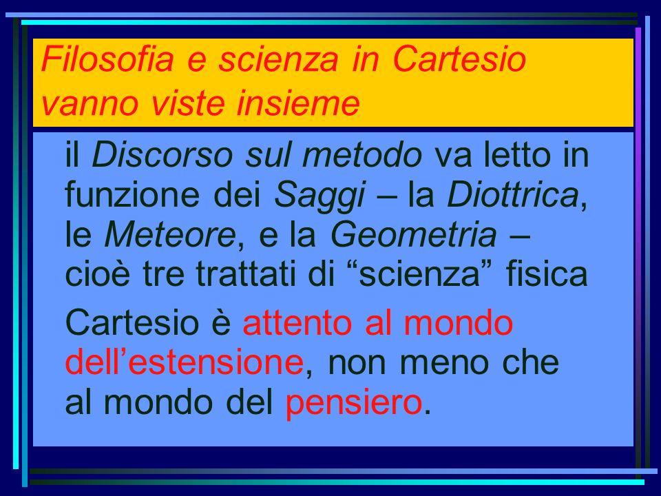 Filosofia e scienza in Cartesio vanno viste insieme il Discorso sul metodo va letto in funzione dei Saggi – la Diottrica, le Meteore, e la Geometria –