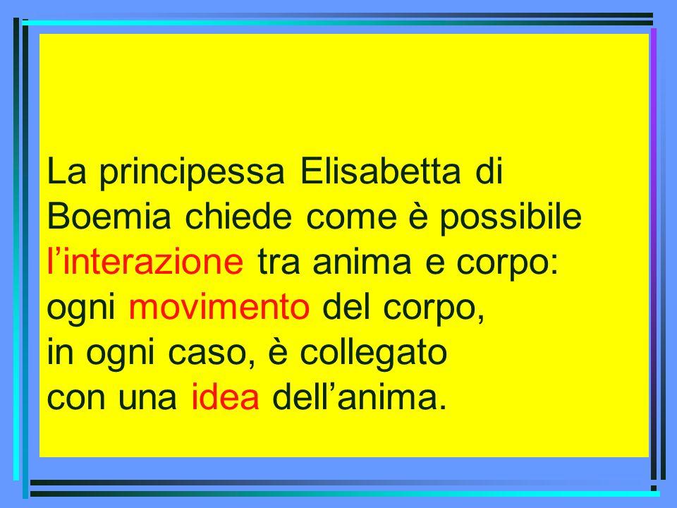 La principessa Elisabetta di Boemia chiede come è possibile linterazione tra anima e corpo: ogni movimento del corpo, in ogni caso, è collegato con un