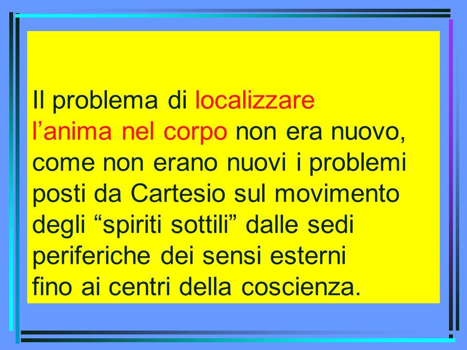 Il problema di localizzare lanima nel corpo non era nuovo, come non erano nuovi i problemi posti da Cartesio sul movimento degli spiriti sottili dalle