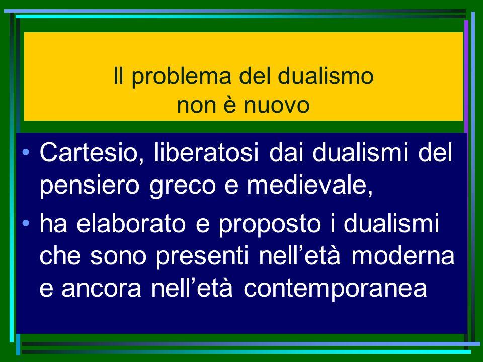 Il problema del dualismo non è nuovo Cartesio, liberatosi dai dualismi del pensiero greco e medievale, ha elaborato e proposto i dualismi che sono pre