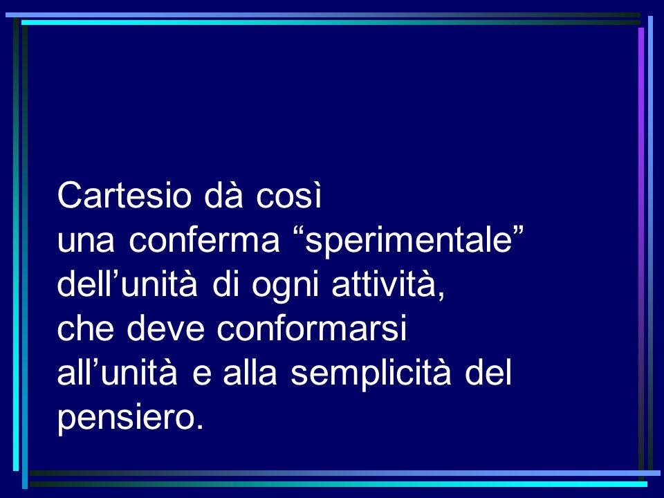 Cartesio dà così una conferma sperimentale dellunità di ogni attività, che deve conformarsi allunità e alla semplicità del pensiero.
