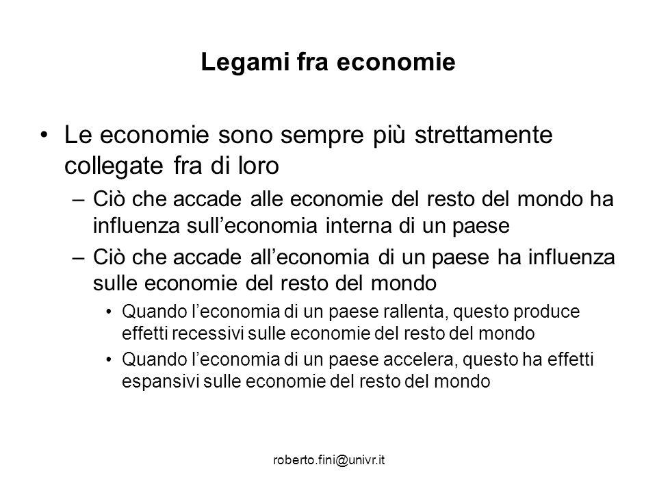 roberto.fini@univr.it Legami fra economie Le economie sono sempre più strettamente collegate fra di loro –Ciò che accade alle economie del resto del m