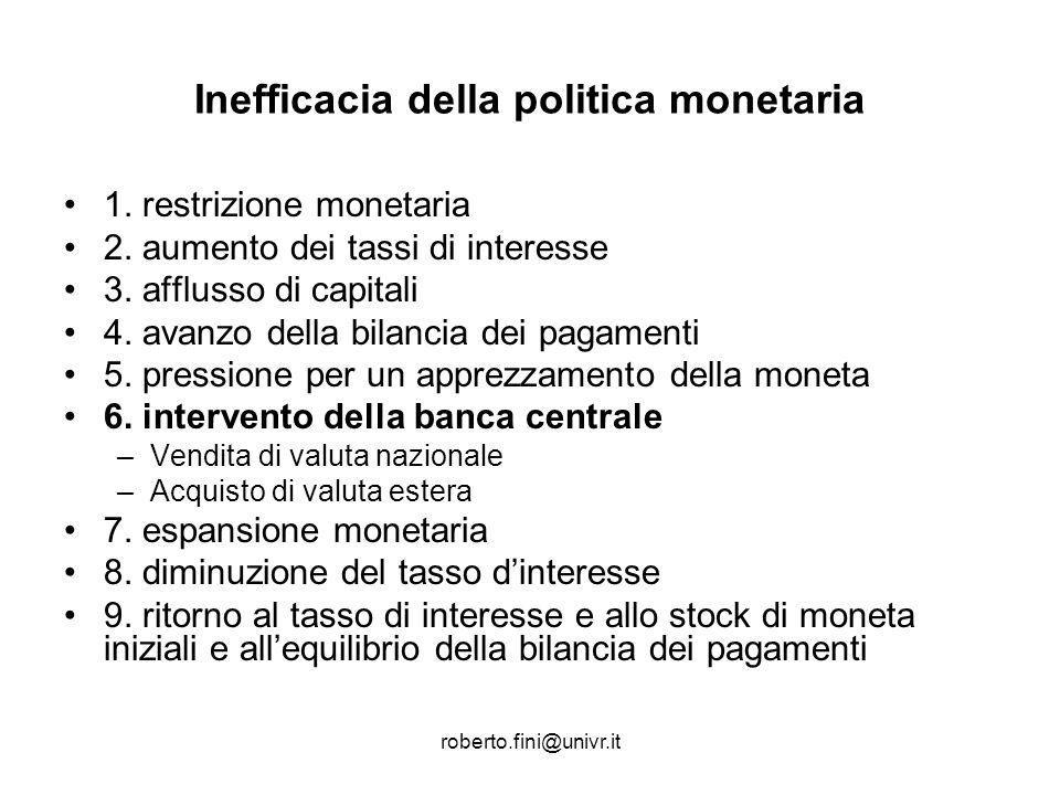 roberto.fini@univr.it Inefficacia della politica monetaria 1. restrizione monetaria 2. aumento dei tassi di interesse 3. afflusso di capitali 4. avanz