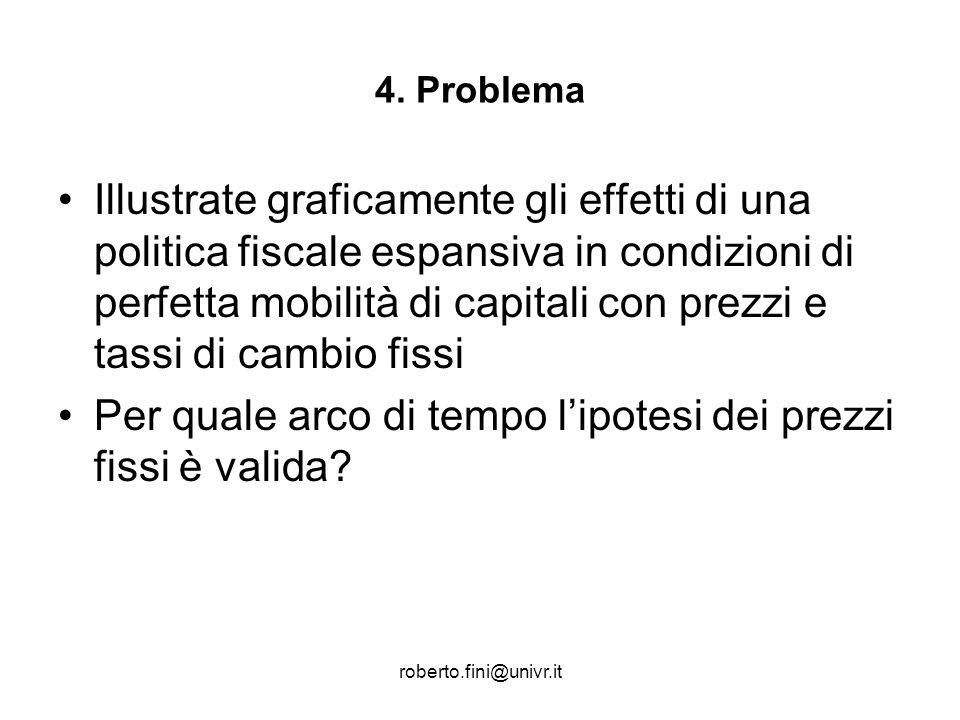 roberto.fini@univr.it 4. Problema Illustrate graficamente gli effetti di una politica fiscale espansiva in condizioni di perfetta mobilità di capitali