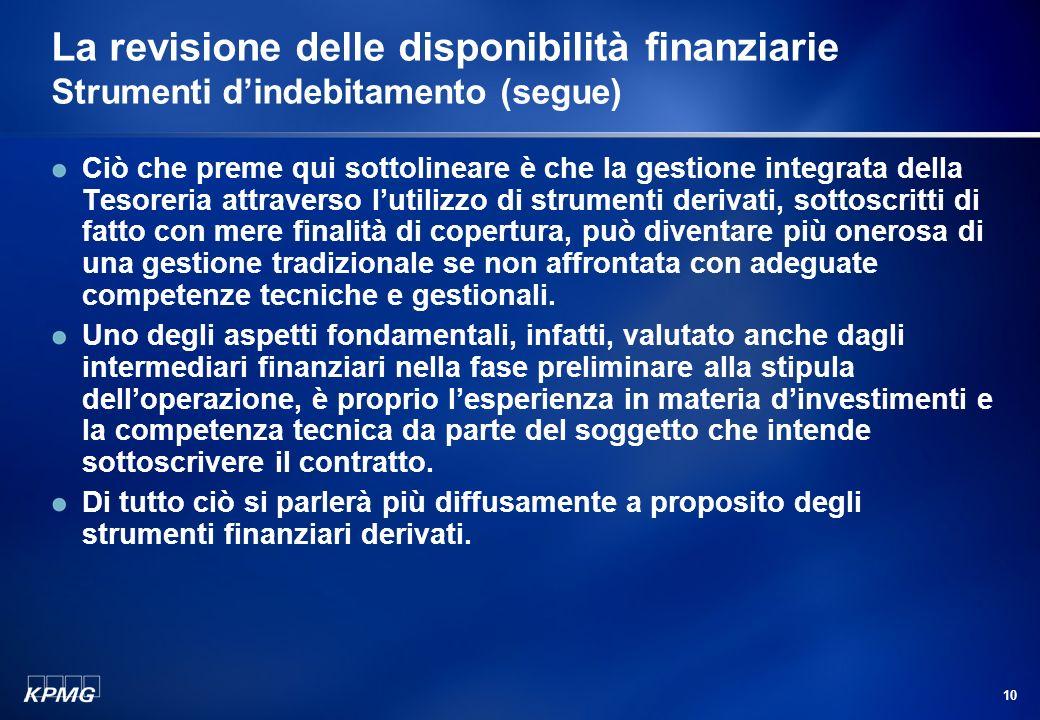9 La revisione delle disponibilità finanziarie Strumenti dindebitamento (segue) La negoziazione di condizioni di tasso e durata in linea con le necess